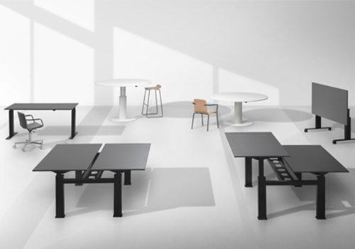 Mara Follow Range Heigh Adjustable Tables and Desks White and Black Shop by Brand Category