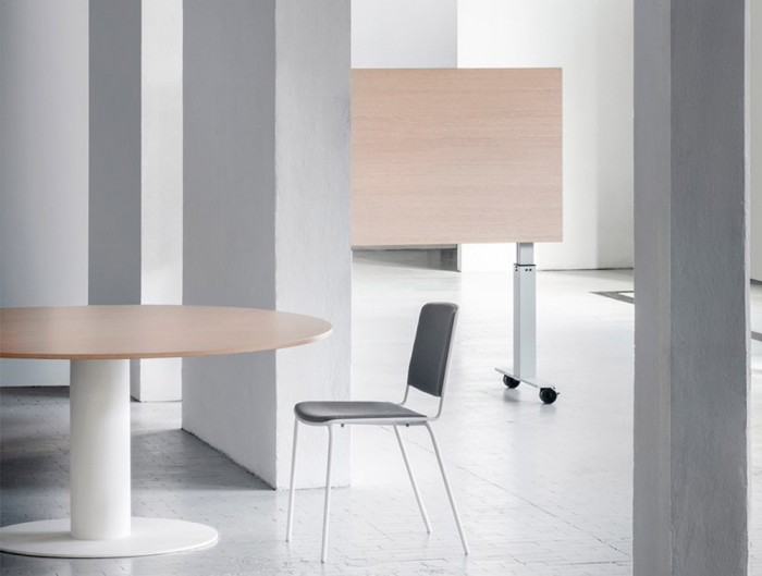 Mara Follow Tilting Desk and Round Meeting Table Height Adjustable in White Frame and Beech Tabletop