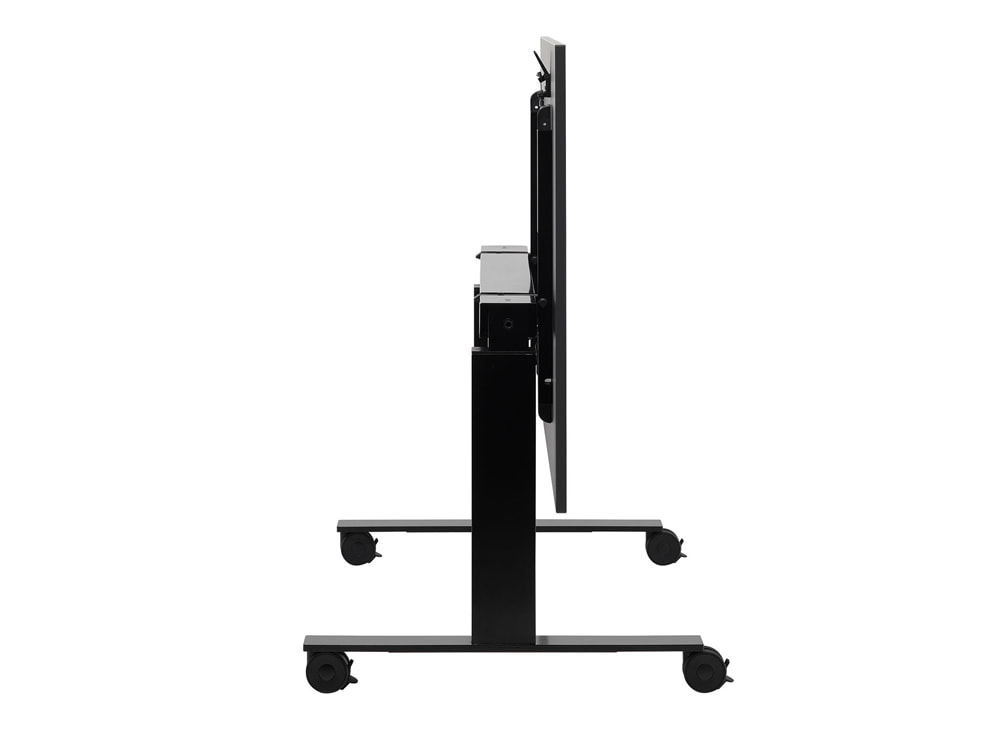 Mara Follow Tilting Height Adjustable Office Desk with Wheels in Black Finish