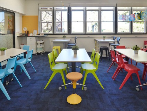 Masha School Classroom 4 Leg Plastic Chair in Blue Green and Red with Laura High Stool in Black