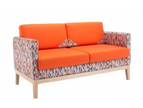 Matrix Funky Comfy Sofa Range Orange with Frame in Natural Oak