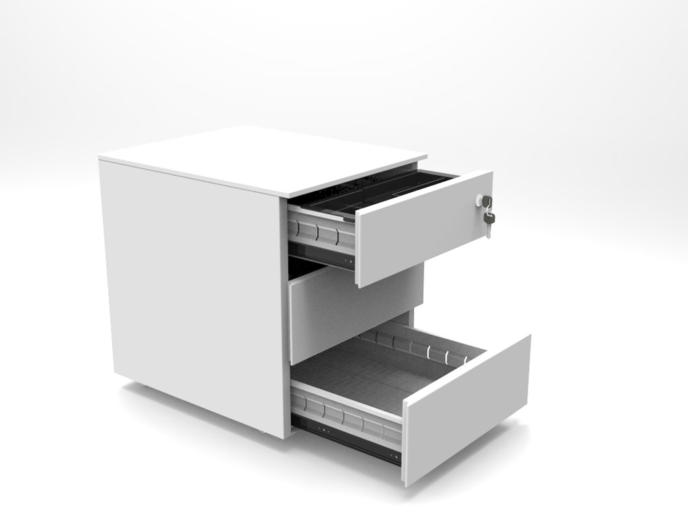 Metal icon 3 drawer pedestal in white open drawers