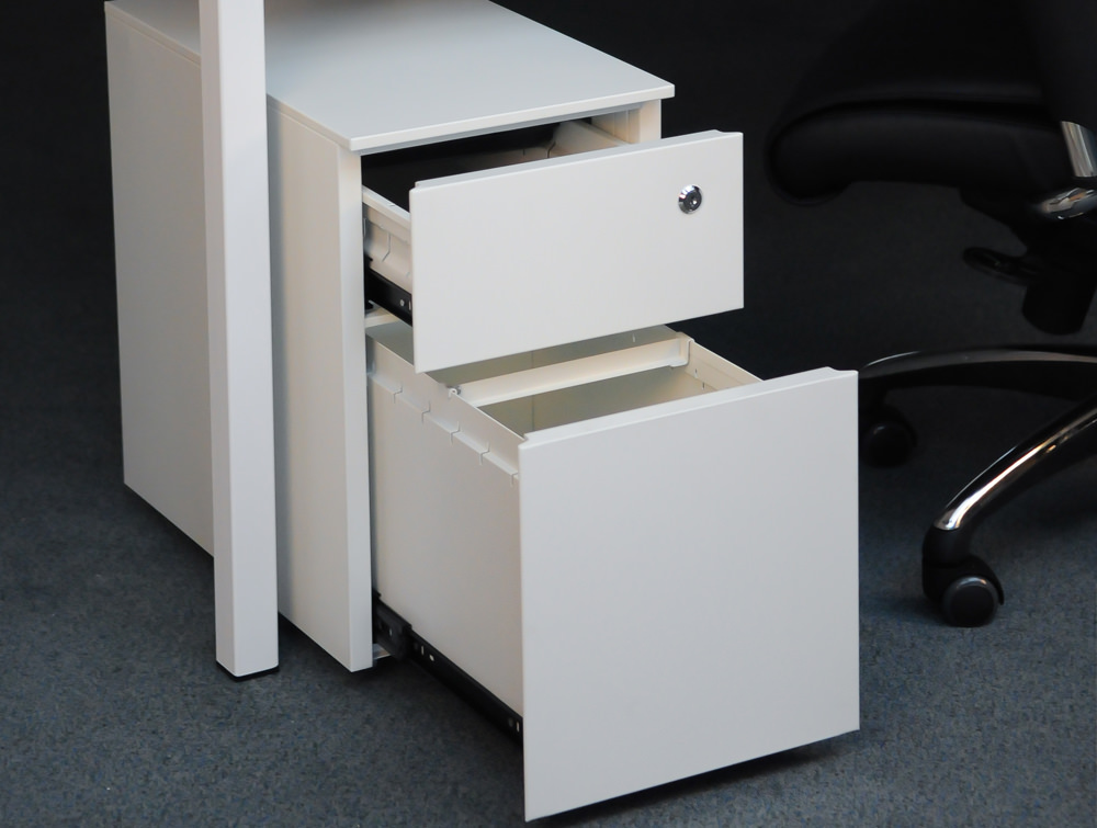 Metal icon CUBE PMS 3511 WH Narrow Low Steel Pedestal 1 Personal Drawer 1 Filing Drawer White 3
