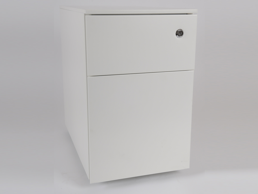Metal icon CUBE PMS 3511 WH Narrow Low Steel Pedestal 1 Personal Drawer 1 Filing Drawer White 4