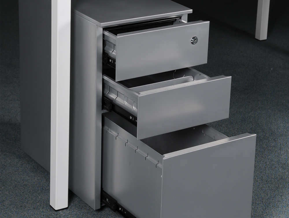 Metalicon CUBE PMS3521SV Narrow Steel Pedestal 1 Personal Drawer 2 Filing Drawers Silver 2