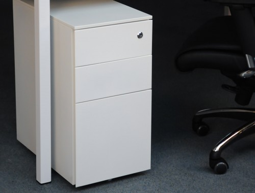 Metalicon Cube Narrow Steel Pedestal 1 Personal Drawer 2 Filing Drawers White 1