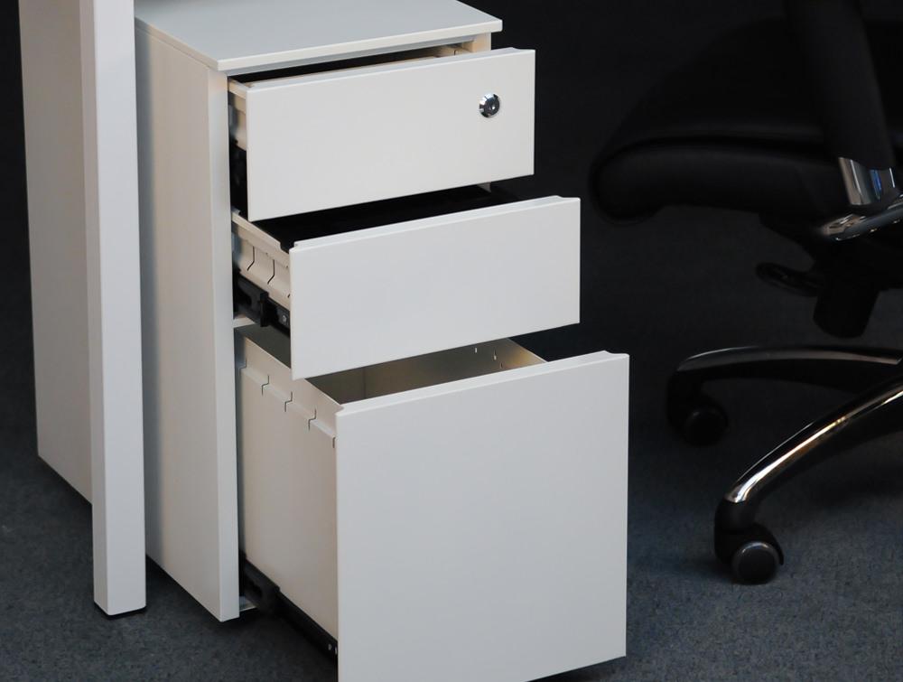 Metalicon Cube Narrow Steel Pedestal 1 Personal Drawer 2 Filing Drawers White 2