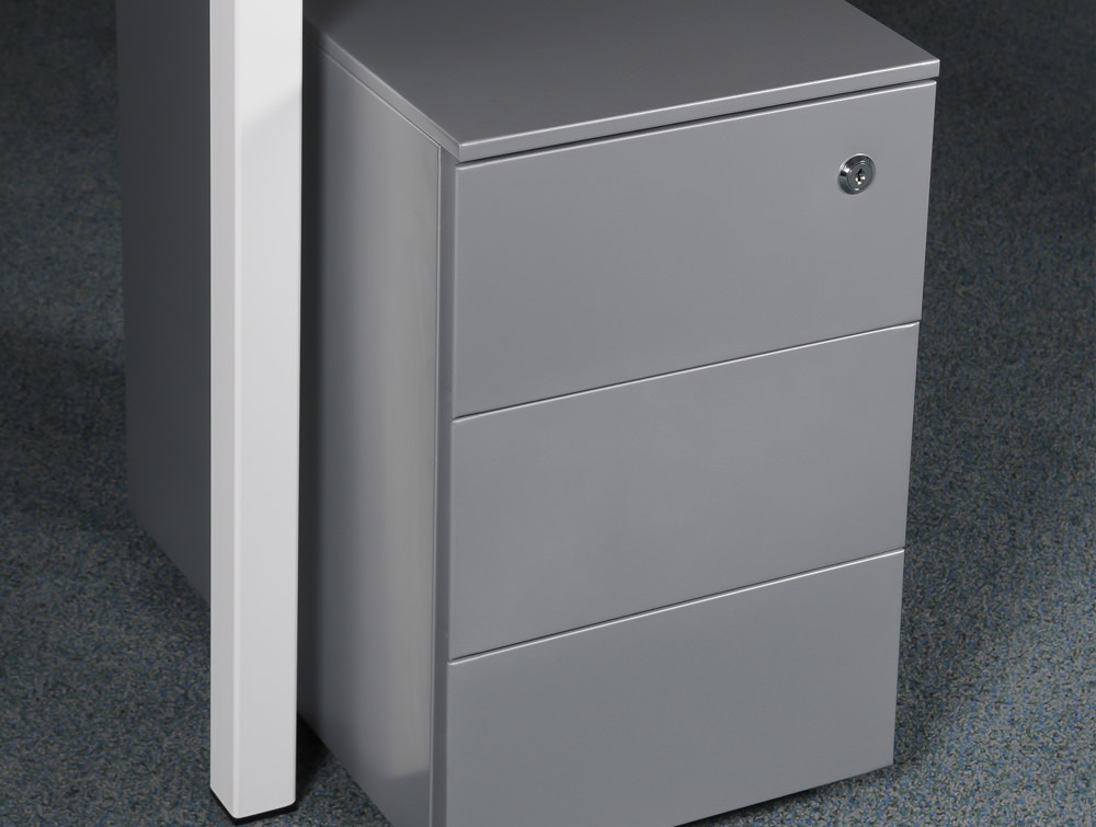 Metal icon CUBE PMS 3530 SV Narrow Low Steel Pedestal 3 Personal Drawers Silver 1