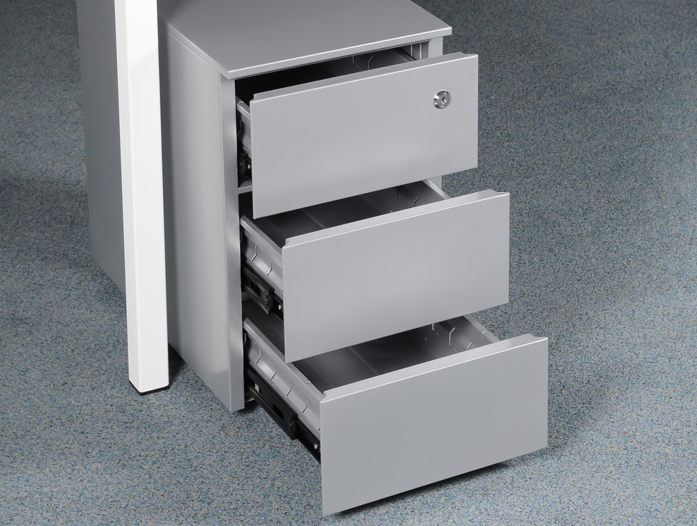 Metal icon CUBE PMS 3530 SV Narrow Low Steel Pedestal 3 Personal Drawers Silver 2
