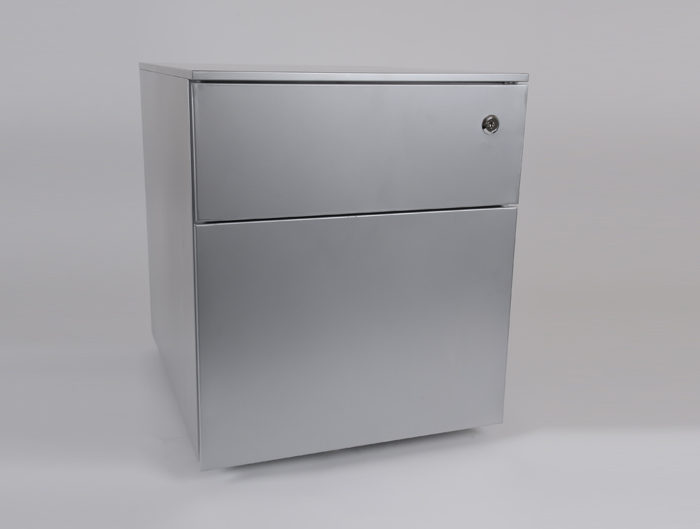 Metal icon CUBE PMS4511SV Low Steel Pedestal 1 Personal Drawer 1 Filing Drawer Silver 3