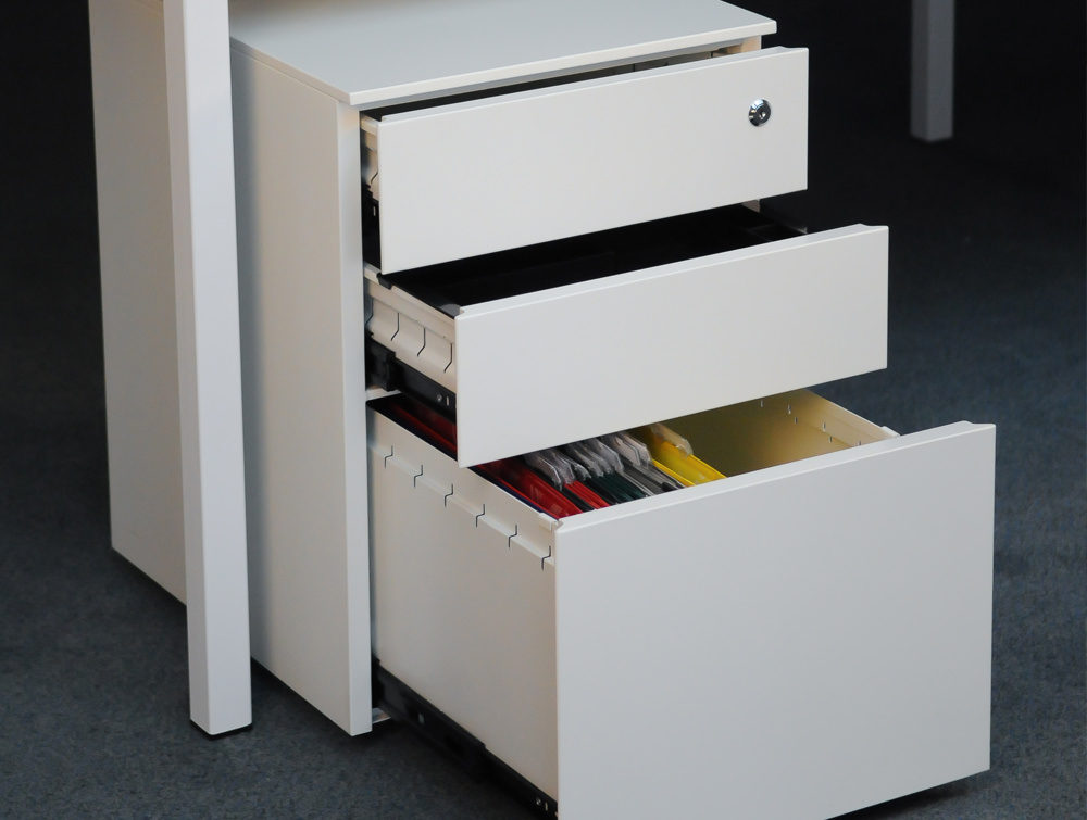 Metalicon Cube Steel Pedestal 1 Personal Drawer 2 Filing Drawers White 3