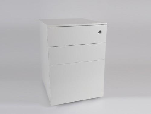 Metalicon Cube Steel Pedestal 1 Personal Drawer 2 Filing Drawers White 4