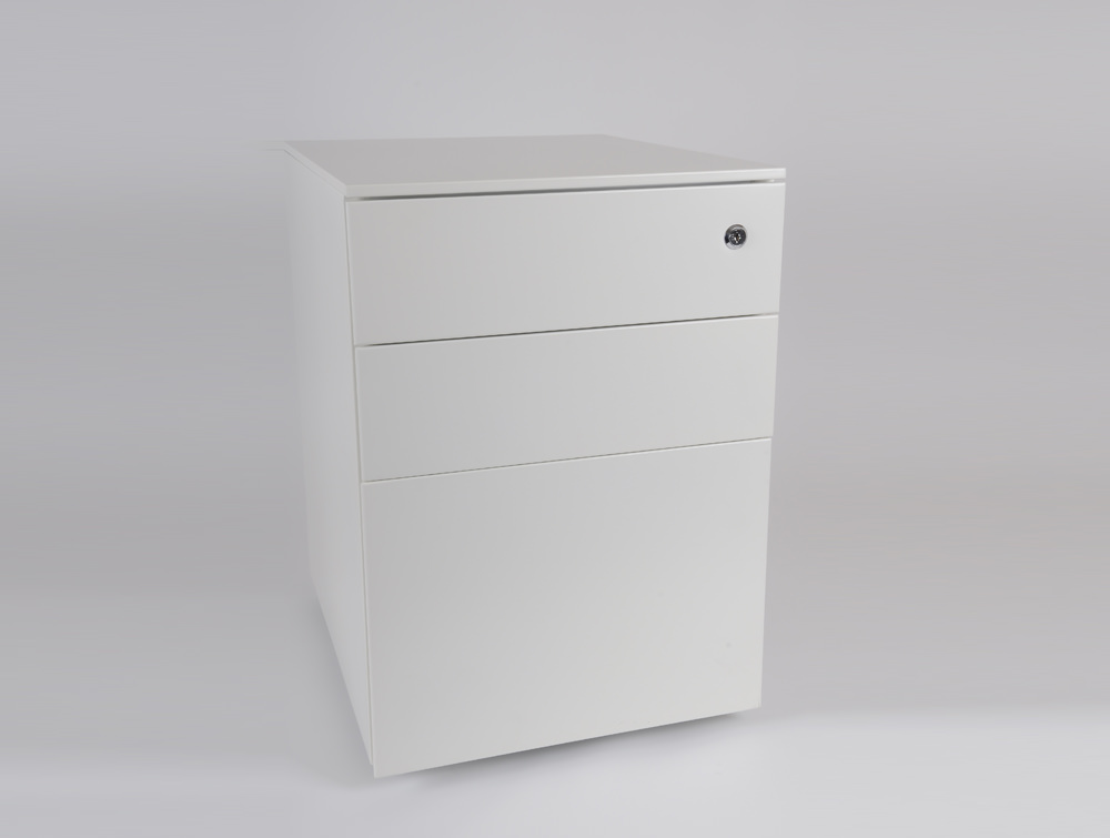 Metalicon Cube Steel Pedestal 1 Personal Drawer 2 Filing Drawers White 4