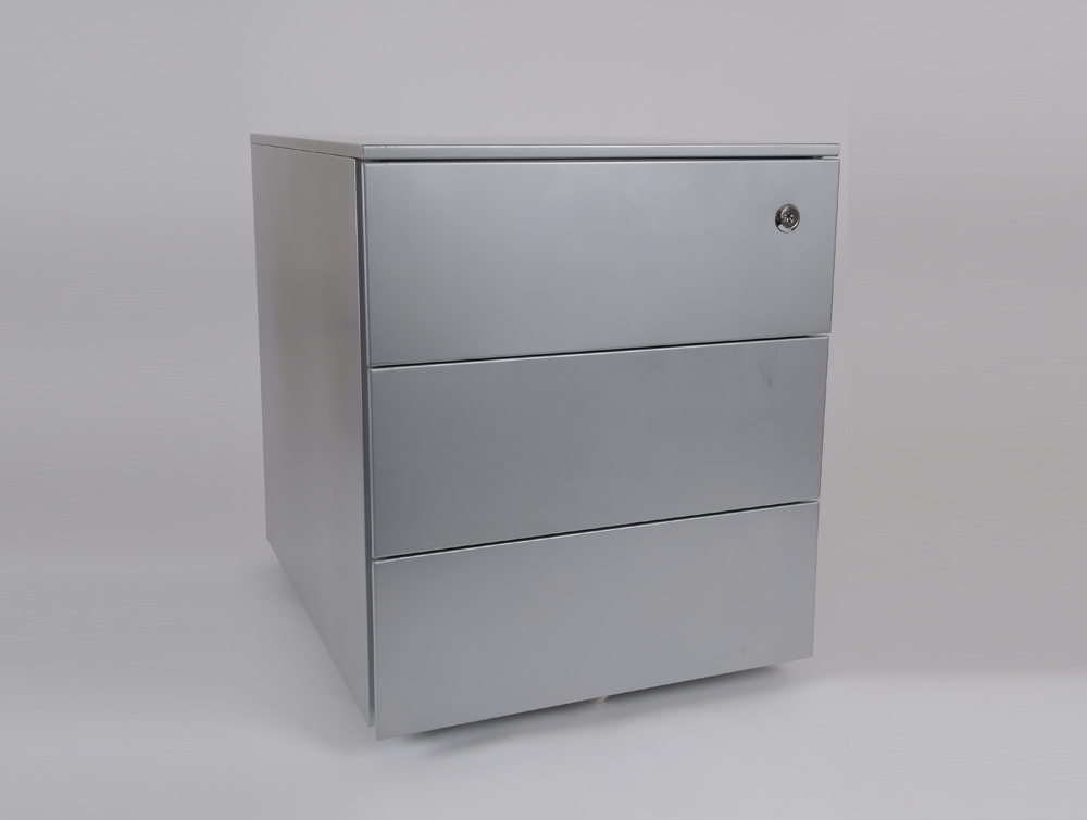 Metal icon CUBE PMS 4530 SV Low Steel Pedestal 3 Personal Drawers Silver
