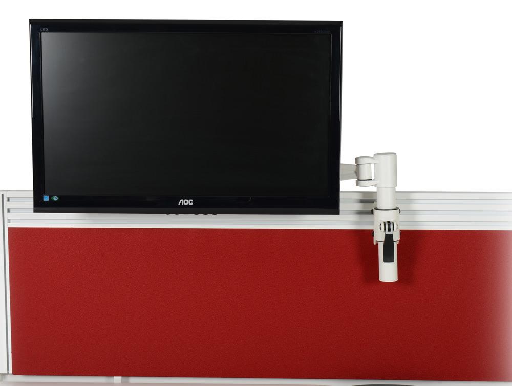 Metalicon KARDO PMSA521-WH Toolrail Mounted Single Monitor Arm White with Monitor