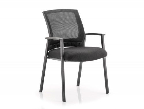 Metro Visitor Chair Black Fabric Black Mesh Back With Arms Featured Image