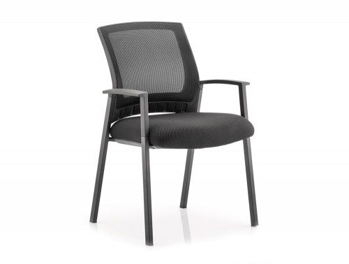 Metro Visitor Chair Black Fabric Black Mesh Back With Arms Image 1