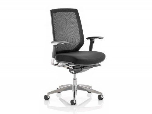 Midas Task Operator Chair Black Fabric Black Mesh Back With Arms Featured Image