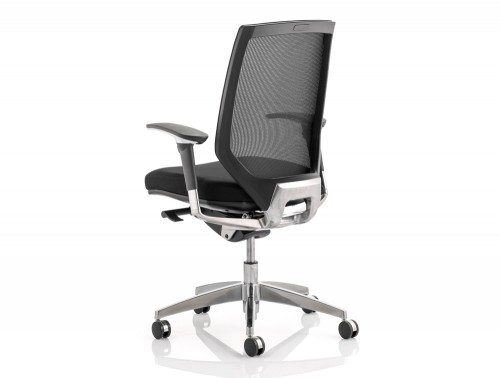 Midas Task Operator Chair Black Fabric Black Mesh Back With Arms Image 2
