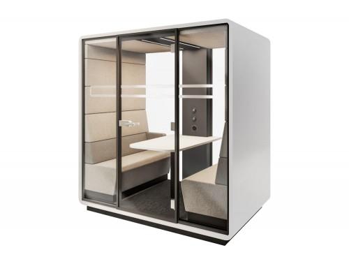 Mikomax-Hush-Meet-Acoustic-Meeting-Pod-Grey-Exterior-and-Cream-Interior