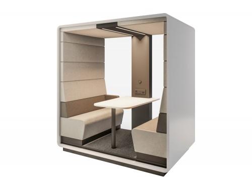 Mikomax-Hush-Meet-Open-Acoustic-Seating-Pod-Grey-Exterior-and-Cream-Interior