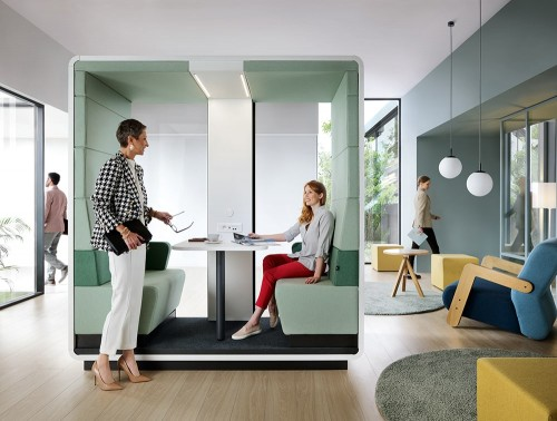 Mikomax-Hush-Meet-Open-Acoustic-Seating-Pod-Grey-Exterior-and-Green-Interior-in-Situ