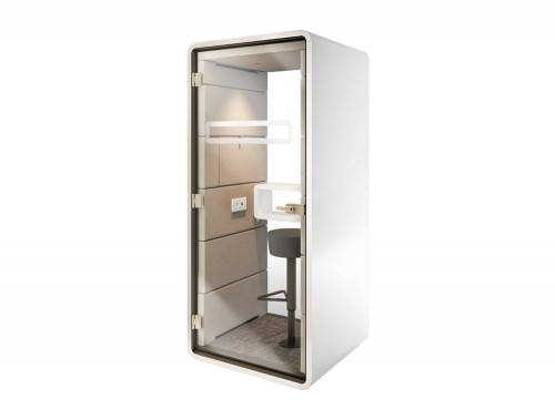 Mikomax-Hush-Phone-Standing-Acoustic-Booth-Grey-Exterior-and-Cream-Interior