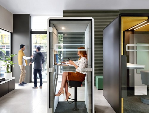 Mikomax-Hush-Phone-Standing-Acoustic-Booth-White-Exterior-and-Grey-Interior