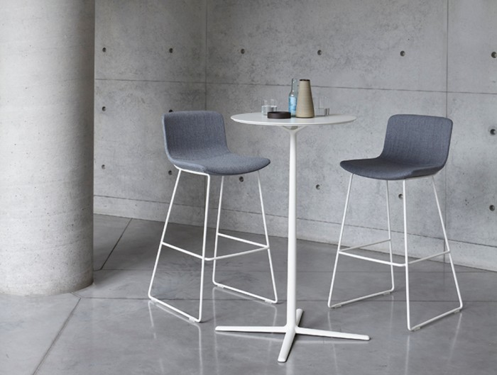 Milos Stool H 670 Cafeteria Chair 2 in Grey and White Legs with Round Table in Cafeteria.jpg