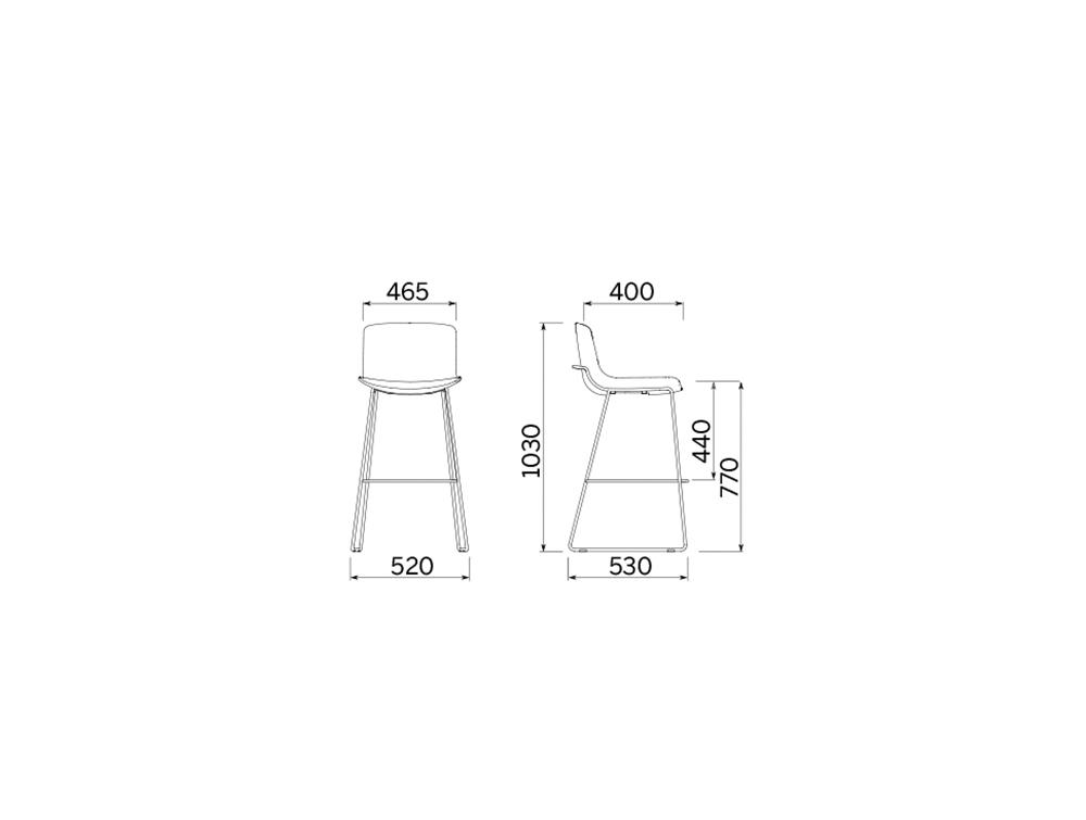 Milos Stool H 770 Cafeteria Chair 3 Dimensions.jpg