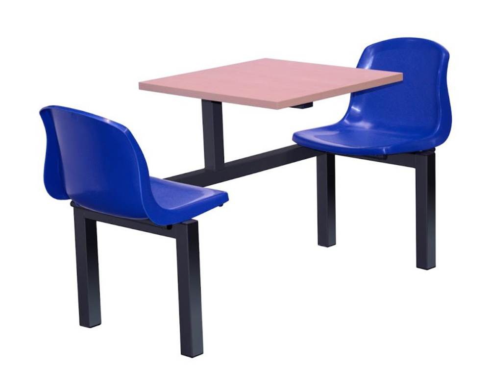 Mixbury Fast Food Fixed Table and Chairs for Canteen in Polypropylene Seat Shell Two Seaters
