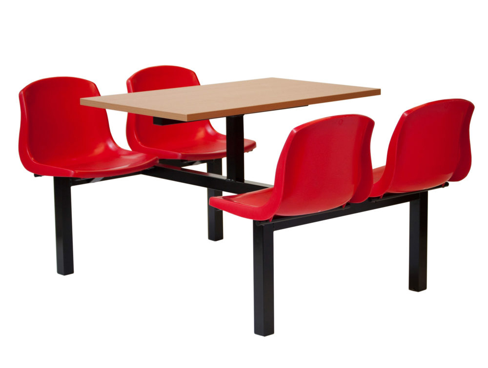 Mixbury Fast Food Fixed Table and Red Chairs Four Seaters Double Entry