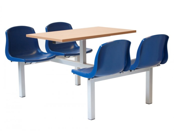 Mixbury Fast Food Restaurant Furniture in Blue and Beech Four Seaters Double Entry