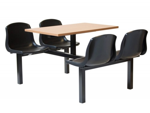 Mixbury Fast Food Seating with Black Frame Chairs and Beech Table Top