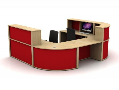 Mobili Reception Configuration 5 in Oak and Red