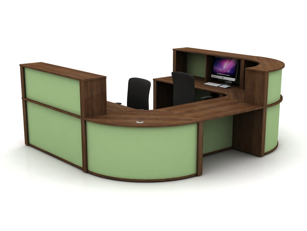 Mobili Reception Configuration 5 in Walnut and Mint