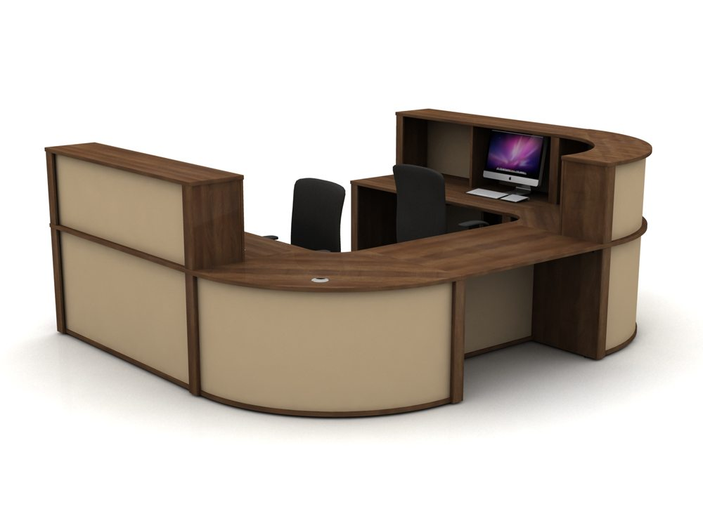 Mobili Reception Configuration 5 in Walnut and Cappuccino