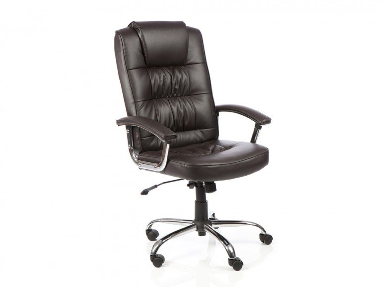 Moore Deluxe Executive Chair Brown Leather With Arms Featured Image