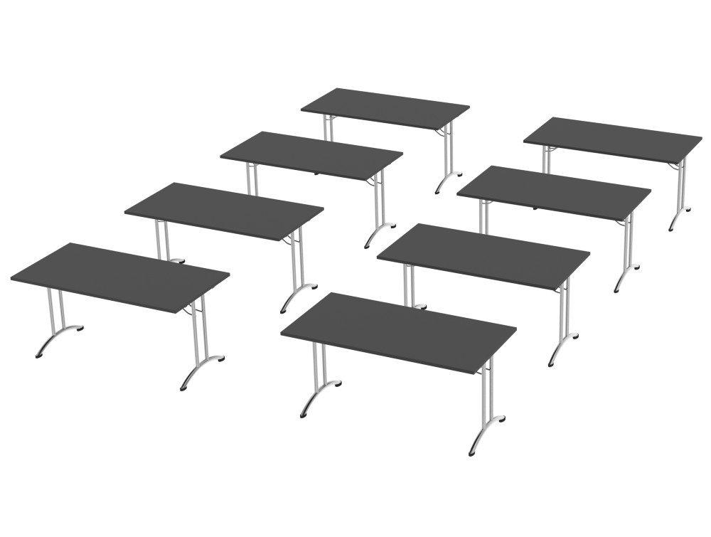 Morph Meeting Configuration Single Desk in Graphite