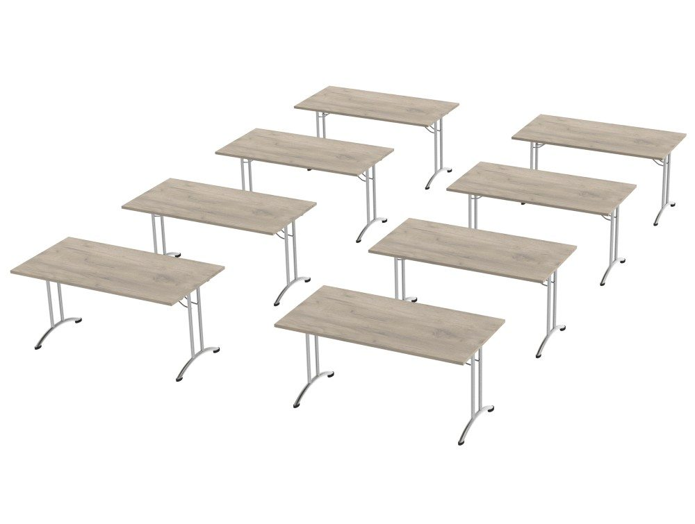 Morph Meeting Configuration Single Desk in Grey Craft Oak