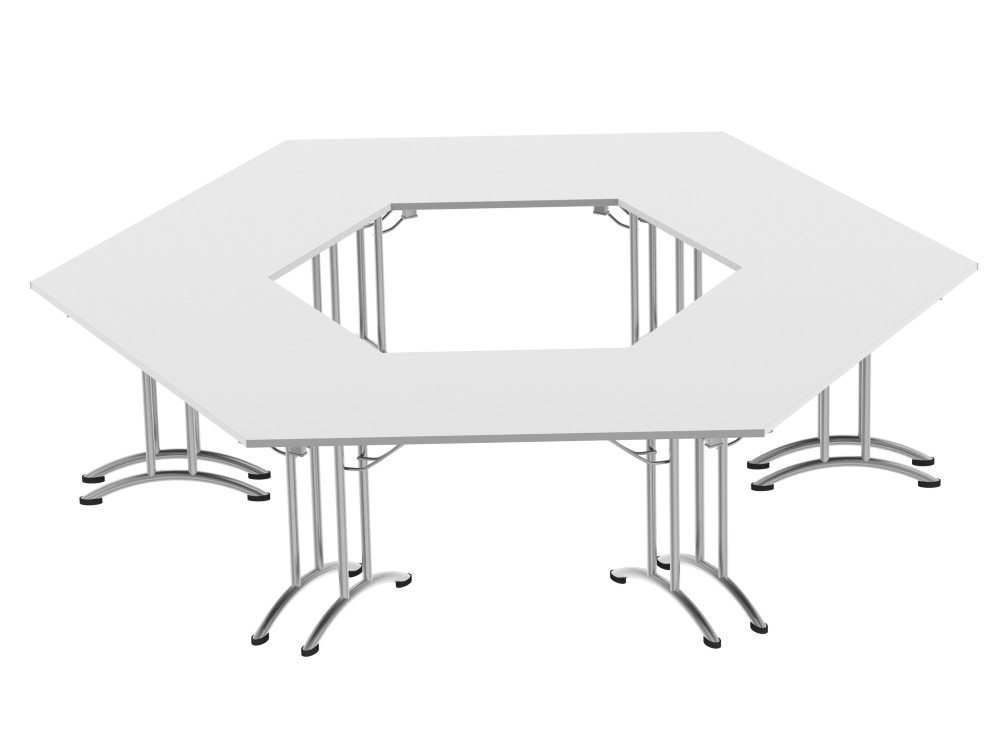 Morph Meeting Configuration Hexagon Shaped in White