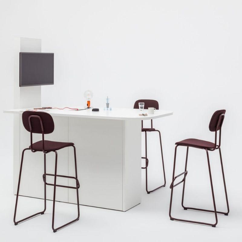 Multimedia Desk with Maroon Stools