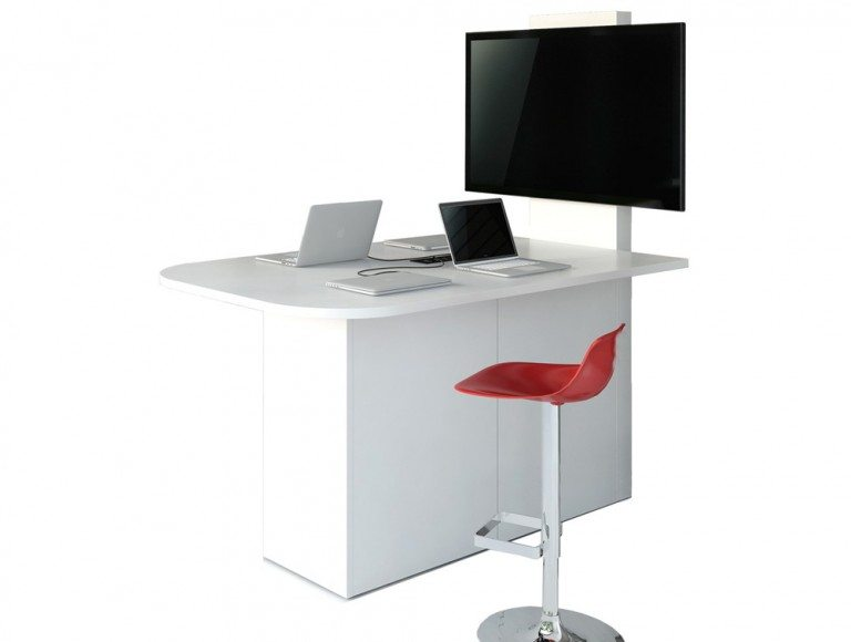 Multimedia Station wtih Red Chairs Audio Visual