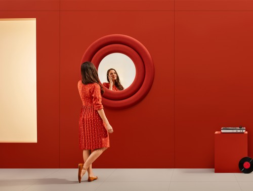 Mute Design Rings Wall Mounted Acoustic Panel with Mirror Red