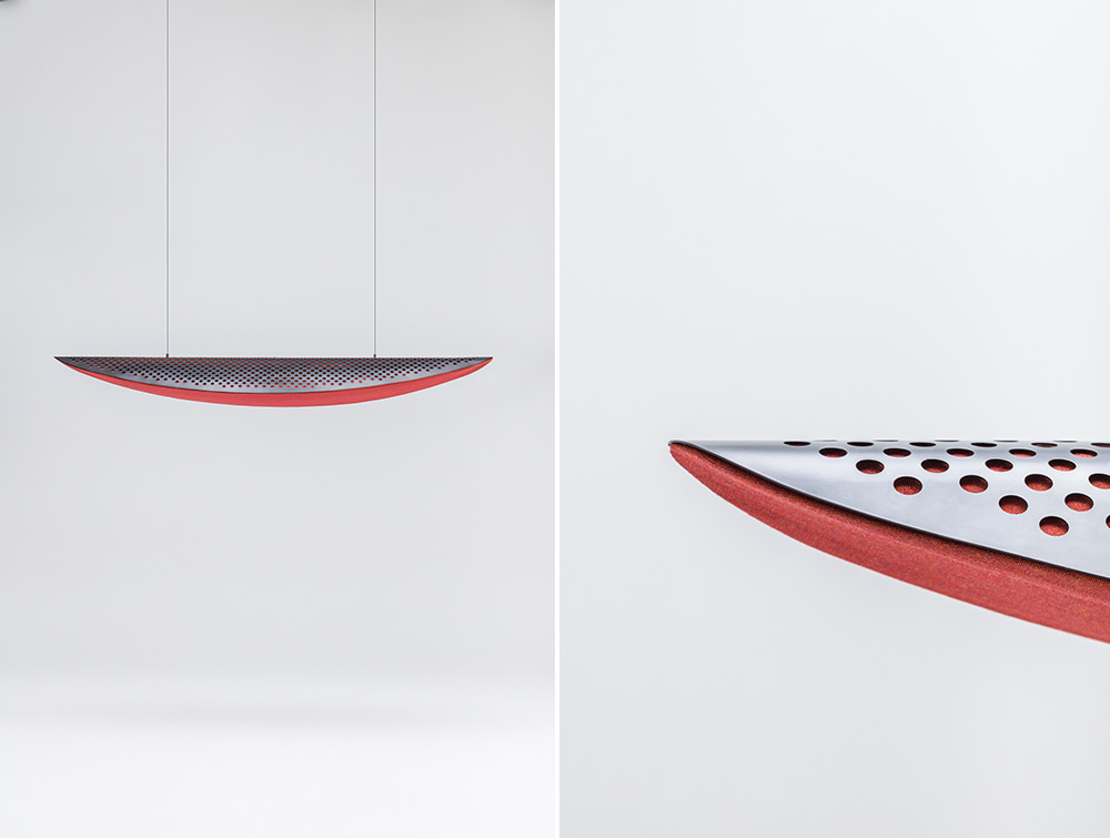 Mute Design Shell Curved Hanging on Ceiling Acoustic Panel with Upholstered Front and Metalised Back