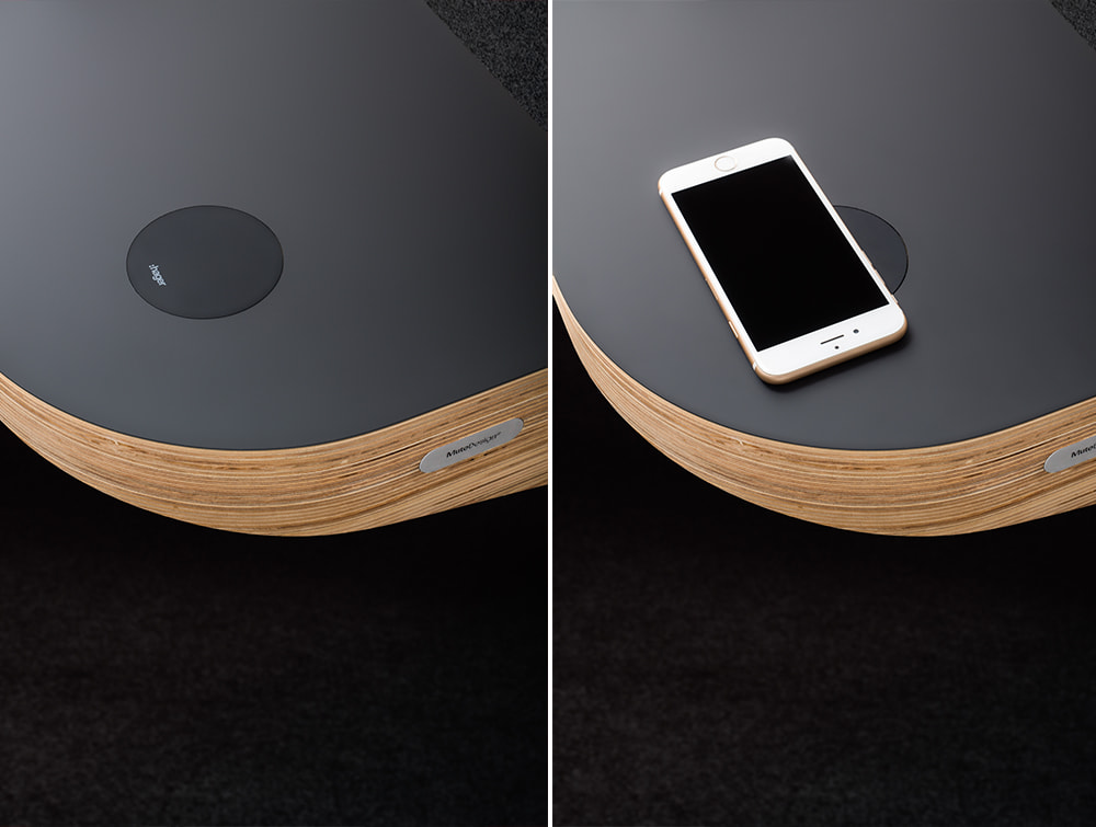 Mute Design Space S Acoustic Phone Booth with Table and Induction Charger