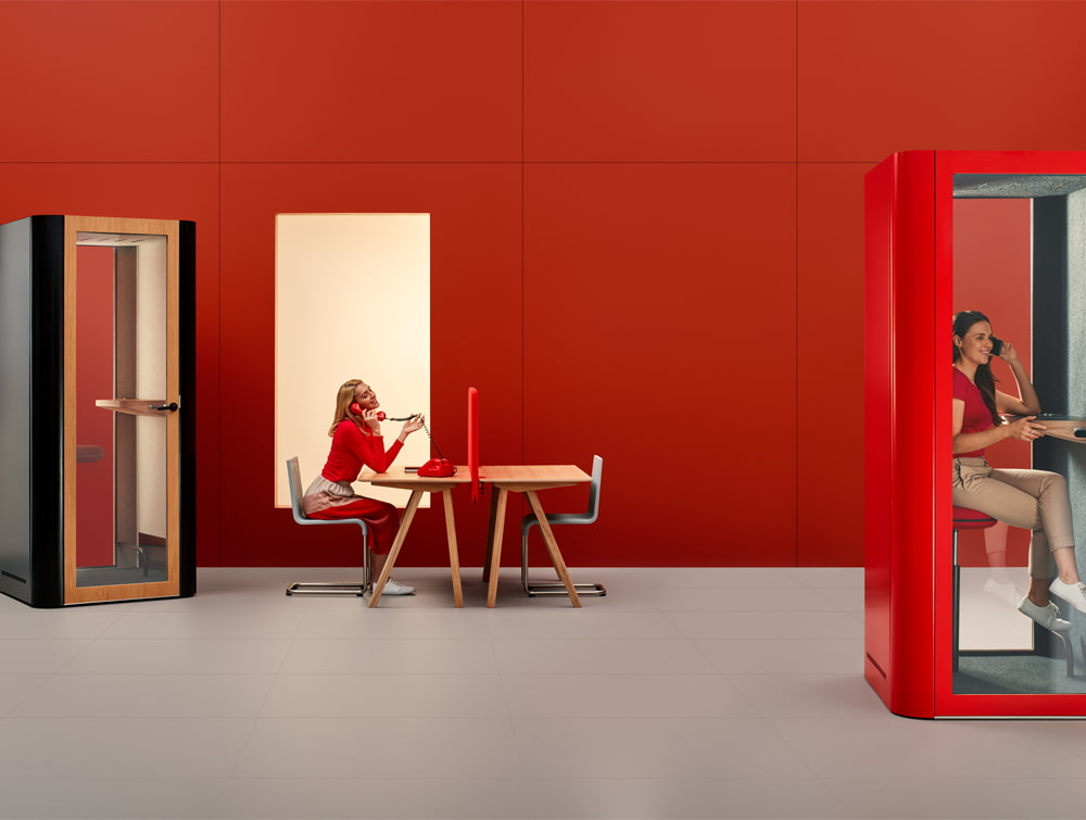 Mute Design Space S Soundproof Office Phone Booth with Table and Table in Red and Black Frame