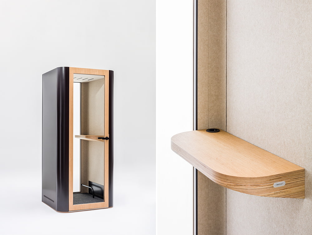 Mute Design Space S Soundproof Office Phone Booth with Wooden Table