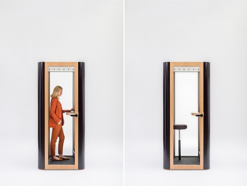 Mute Design Space S Standing or Seating Acoustic Workstation Pod with Table in Black Body and Wooden Door