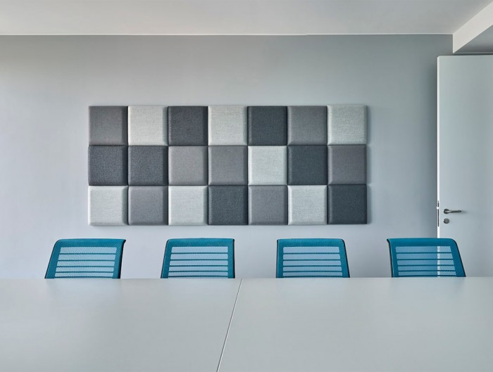 Mute Design Wall Blocks Acoustic Screens 3D Square Grey in Meeting Room